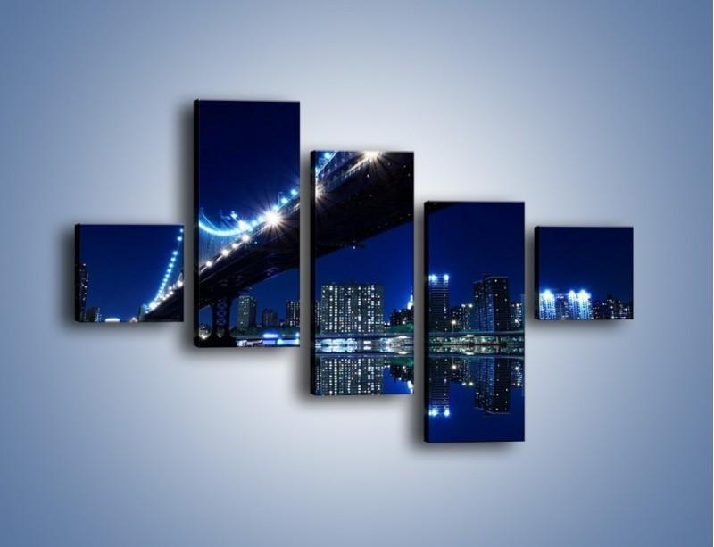 Obraz na płótnie – Oświetlony most w odbiciu wody – pięcioczęściowy AM211W3