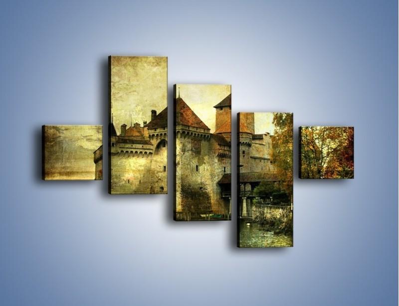 Obraz na płótnie – Średniowieczny zamek w stylu vintage – pięcioczęściowy AM233W3