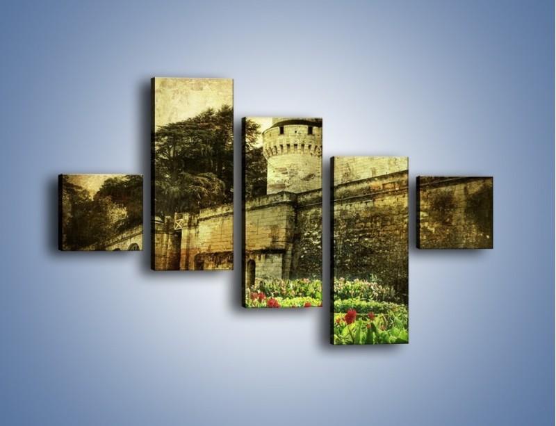 Obraz na płótnie – Zamek w stylu vintage – pięcioczęściowy AM234W3