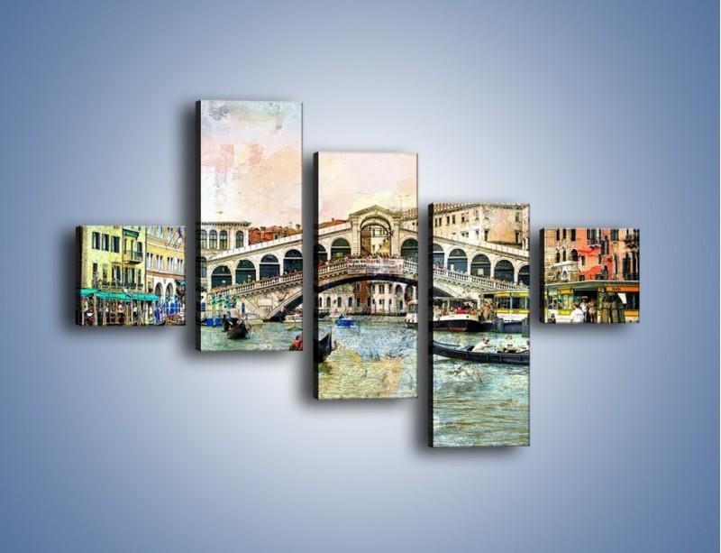 Obraz na płótnie – Wenecja w stylu vintage – pięcioczęściowy AM239W3