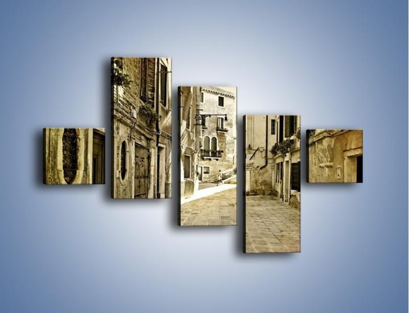 Obraz na płótnie – Stara uliczka w stylu vintage – pięcioczęściowy AM243W3