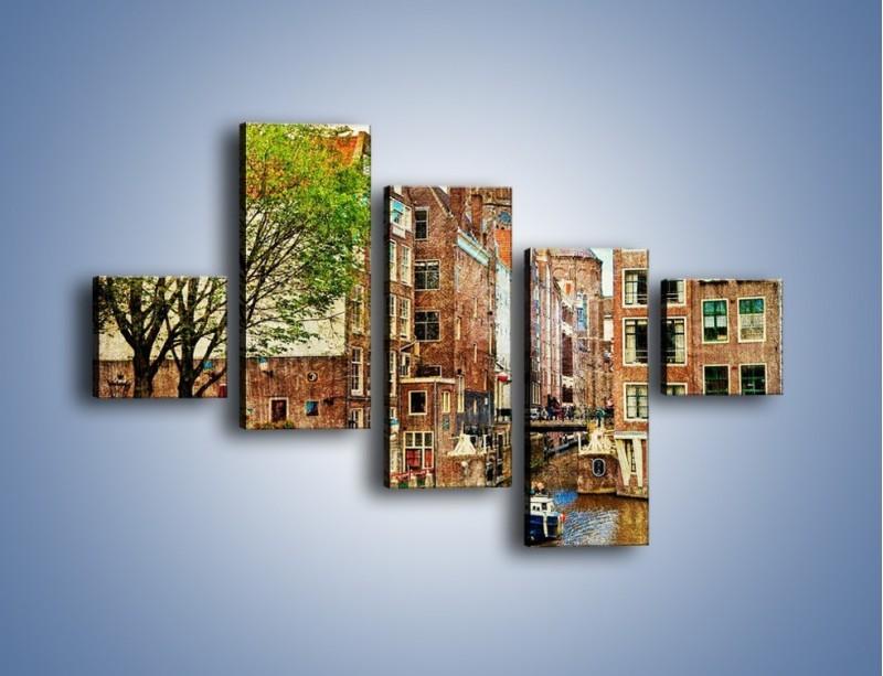 Obraz na płótnie – Kanał w Amsterdamie vintage – pięcioczęściowy AM259W3