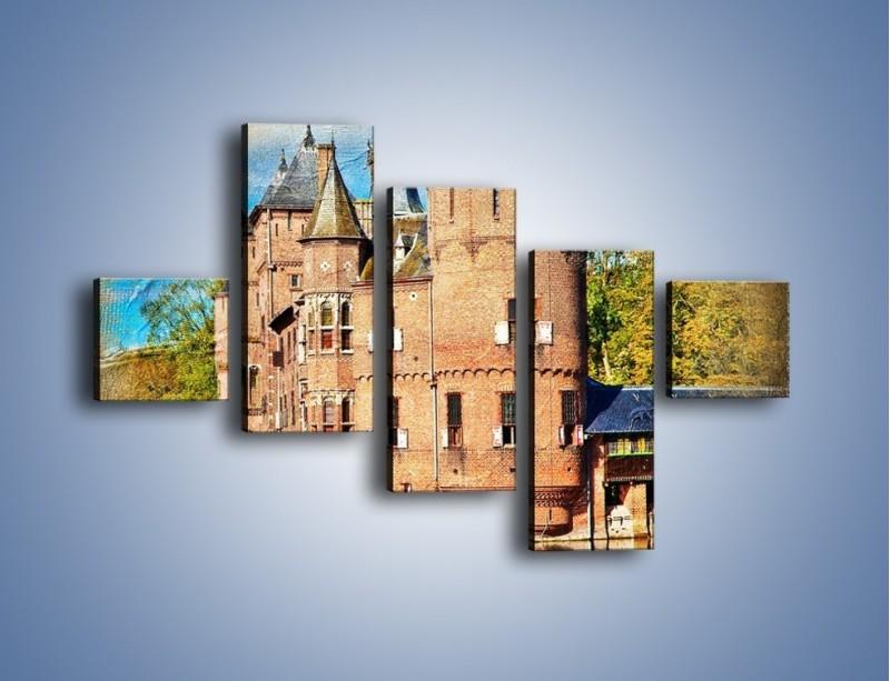 Obraz na płótnie – Zamek nad wodą w stylu vintage – pięcioczęściowy AM262W3