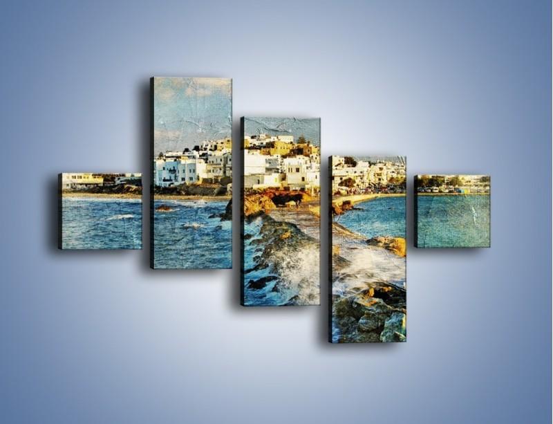 Obraz na płótnie – Grecka dróżka przez wodę vintage – pięcioczęściowy AM268W3