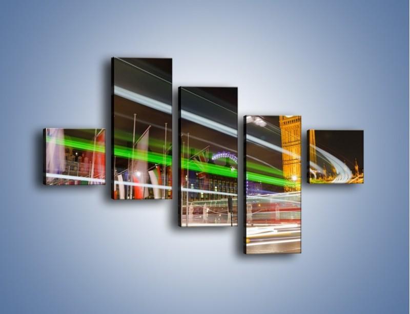 Obraz na płótnie – Światła samochodów na tle Big Bena – pięcioczęściowy AM283W3