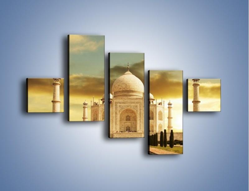 Obraz na płótnie – Tadź Mahal o zachodzie słońca – pięcioczęściowy AM285W3