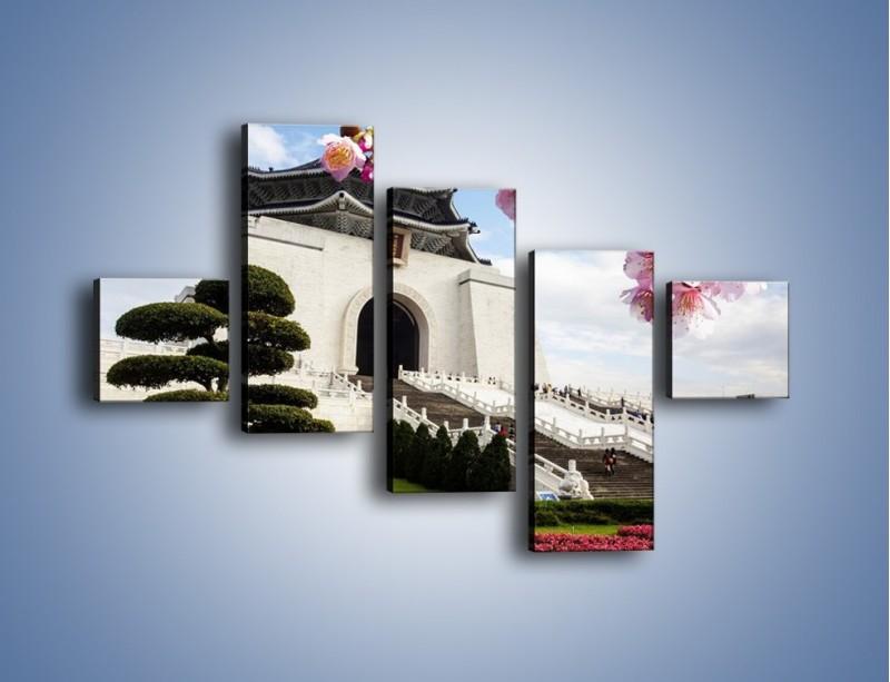 Obraz na płótnie – Azjatycka architektura – pięcioczęściowy AM299W3