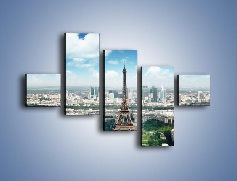 Obraz na płótnie – Chmury nad Wieżą Eiffla – pięcioczęściowy AM302W3