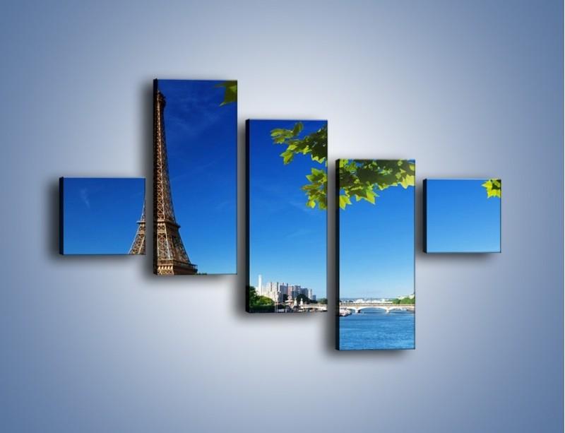 Obraz na płótnie – Wieża Eiffla w piękny dzień – pięcioczęściowy AM304W3