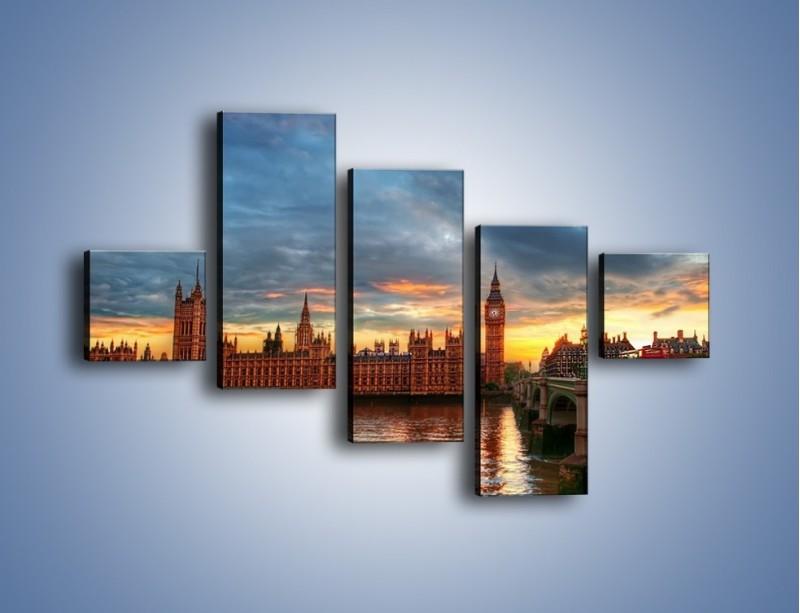 Obraz na płótnie – Pałac Westmnisterski i Big Ben – pięcioczęściowy AM321W3