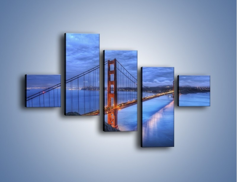 Obraz na płótnie – Most Golden Gate – pięcioczęściowy AM328W3