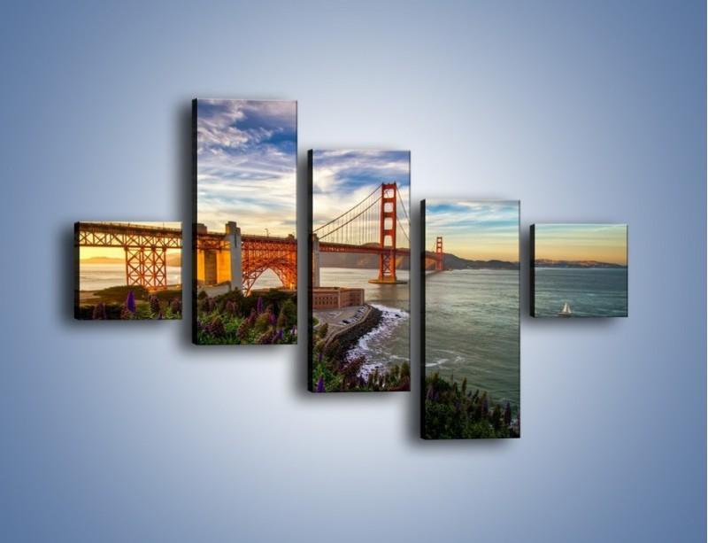 Obraz na płótnie – Most Golden Gate o zachodzie słońca – pięcioczęściowy AM332W3