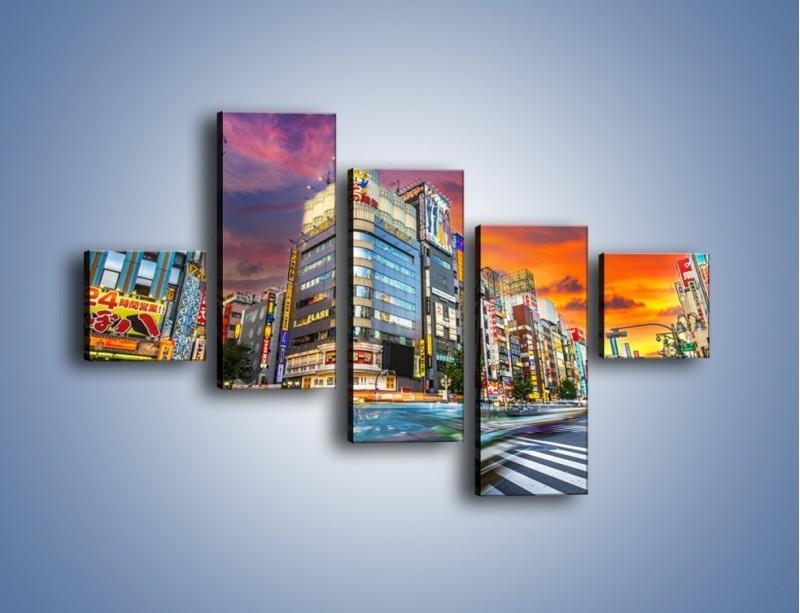 Obraz na płótnie – Tokyo na tle kolorowego nieba – pięcioczęściowy AM336W3