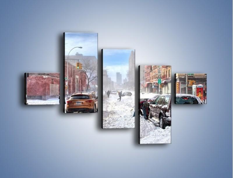 Obraz na płótnie – Zaśnieżone ulice miasta – pięcioczęściowy AM342W3