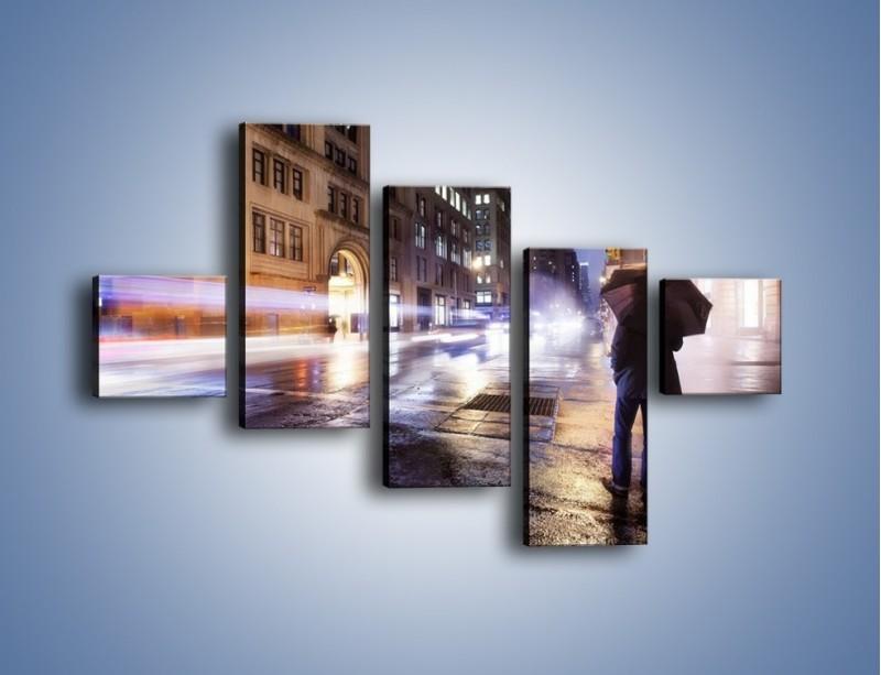 Obraz na płótnie – Deszczowa noc w Nowym Jorku – pięcioczęściowy AM343W3