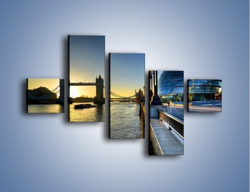 Obraz na płótnie – Londyński Tower Bridge – pięcioczęściowy AM348W3