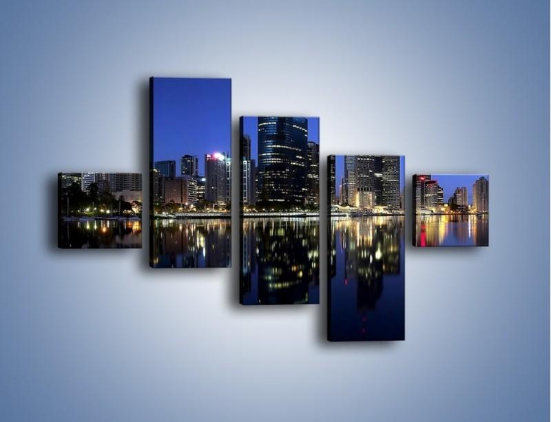 Obraz na płótnie – Brisbane w Australii nocą – pięcioczęściowy AM354W3