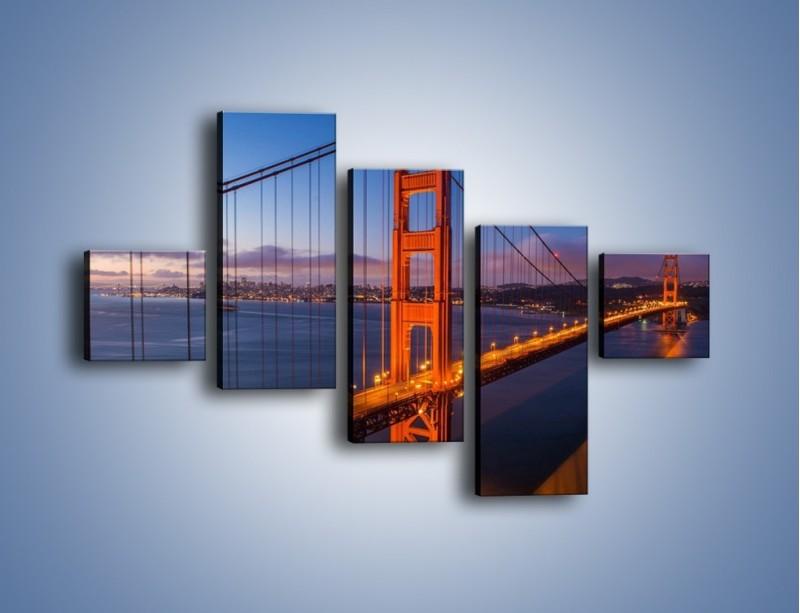 Obraz na płótnie – Rozświetlony most Golden Gate – pięcioczęściowy AM360W3