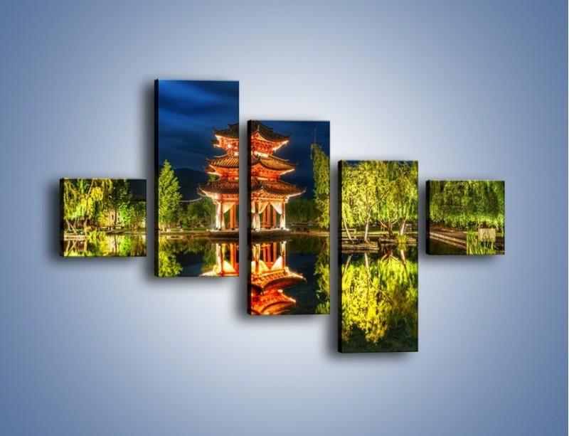 Obraz na płótnie – Urokliwy park w Chinach – pięcioczęściowy AM365W3