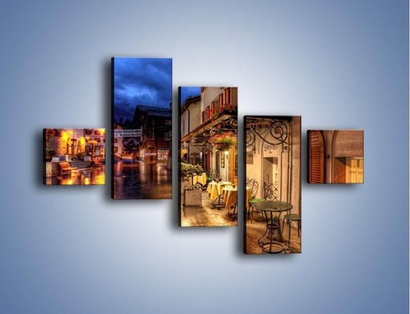 Obraz na płótnie – Romantyczne miasteczko pod Alpami – pięcioczęściowy AM368W3