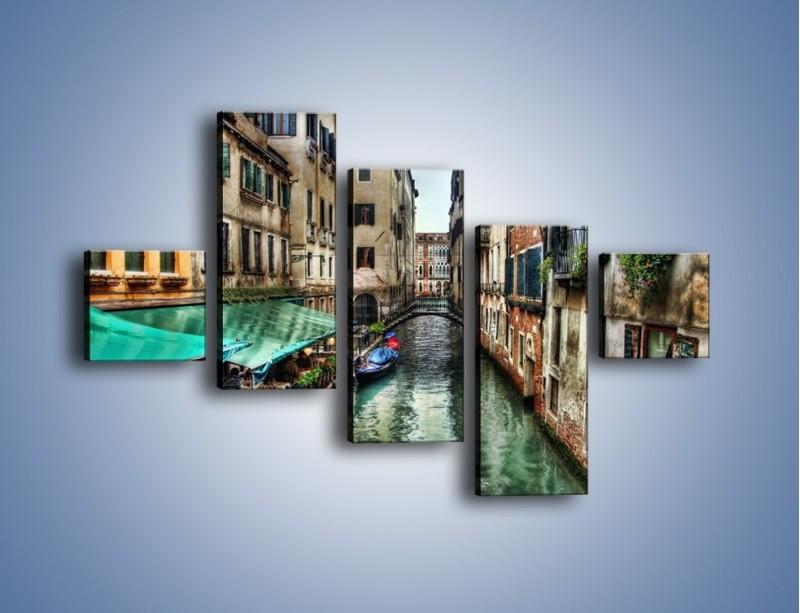 Obraz na płótnie – Wenecka uliczka w kolorach HDR – pięcioczęściowy AM374W3