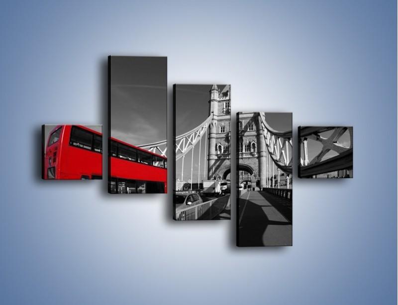 Obraz na płótnie – Tower Bridge i czerwony autobus – pięcioczęściowy AM394W3