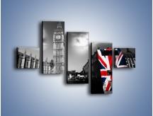 Obraz na płótnie – Big Ben i autobus z flagą UK – pięcioczęściowy AM396W3