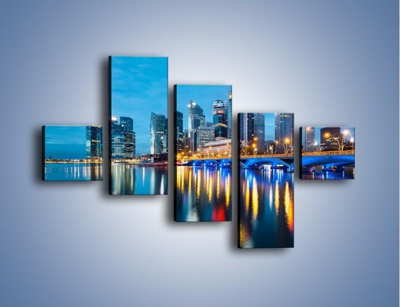 Obraz na płótnie – Kolorowe światła Singapuru – pięcioczęściowy AM408W3