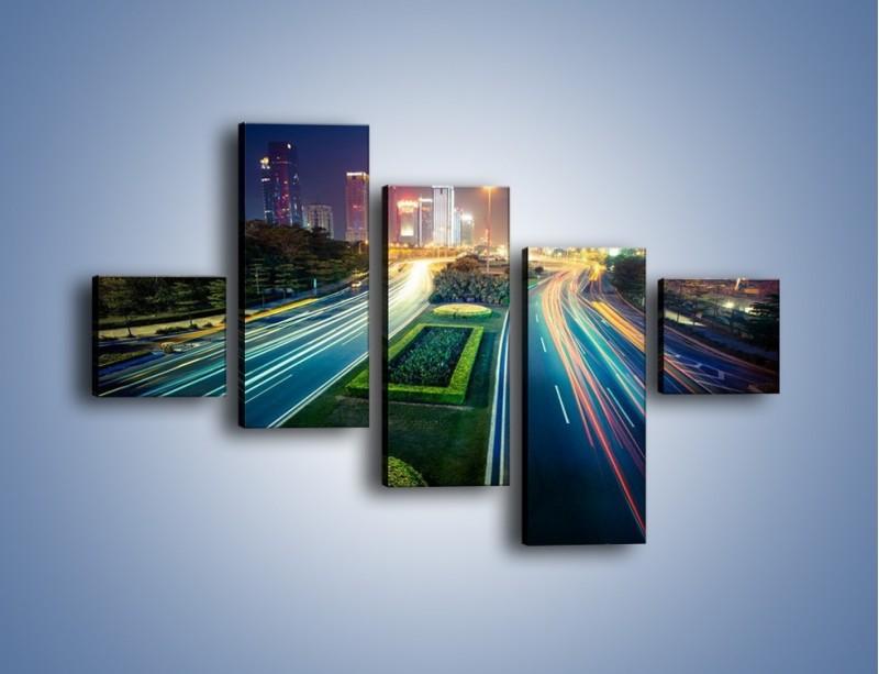 Obraz na płótnie – Uliczne światła Szanghaju – pięcioczęściowy AM409W3