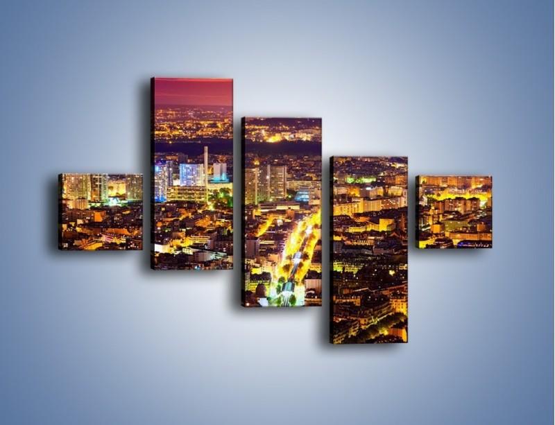 Obraz na płótnie – Kolory Paryża nocą – pięcioczęściowy AM419W3