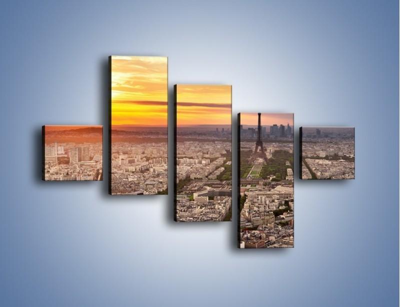 Obraz na płótnie – Zachód słońca nad Paryżem – pięcioczęściowy AM420W3