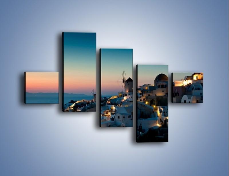 Obraz na płótnie – Domki na Santorini po zmierzchu – pięcioczęściowy AM421W3