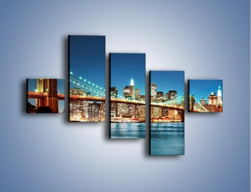 Obraz na płótnie – Most Brookliński na tle Nowego Jorku – pięcioczęściowy AM428W3
