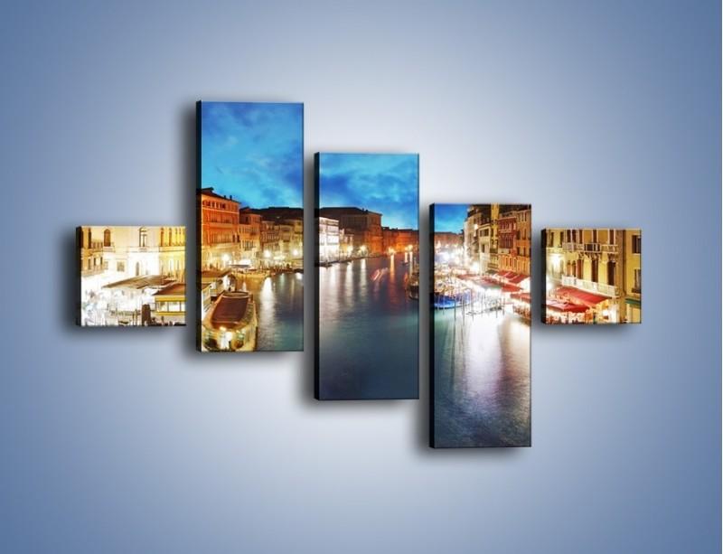 Obraz na płótnie – Światła Wenecji po zmroku – pięcioczęściowy AM430W3