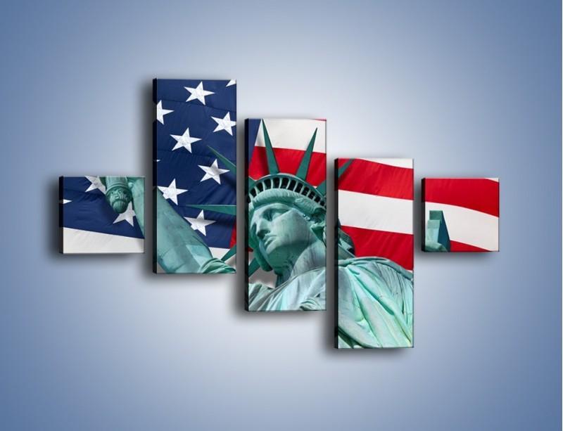 Obraz na płótnie – Statua Wolności na tle flagi USA – pięcioczęściowy AM435W3