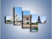 Obraz na płótnie – Atrakcje turystyczne Paryża – pięcioczęściowy AM448W3