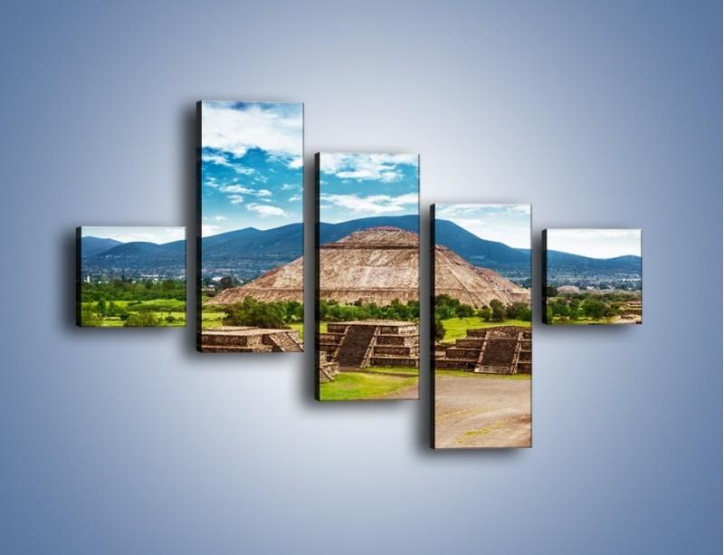 Obraz na płótnie – Piramida Słońca w Meksyku – pięcioczęściowy AM450W3