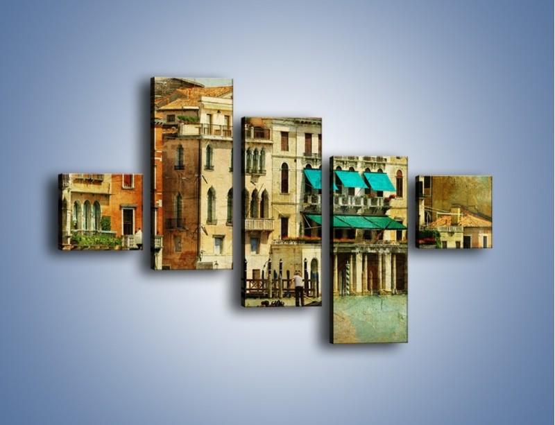 Obraz na płótnie – Weneckie domy w stylu vintage – pięcioczęściowy AM459W3