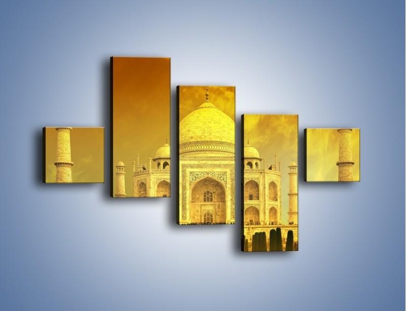 Obraz na płótnie – Tadź Mahal w żółtym kolorze – pięcioczęściowy AM465W3