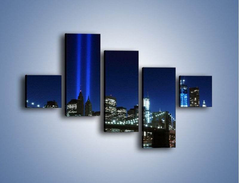 Obraz na płótnie – Most Brookliński nocą – pięcioczęściowy AM476W3