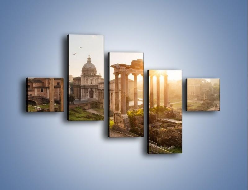 Obraz na płótnie – Rzymskie ruiny o zachodzie słońca – pięcioczęściowy AM480W3