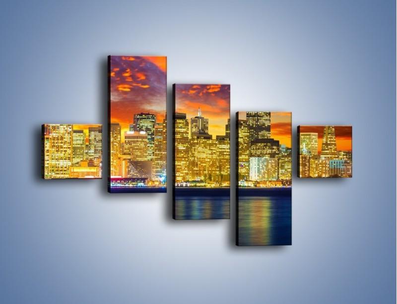 Obraz na płótnie – Wieżowce San Francisco nad wodą – pięcioczęściowy AM481W3