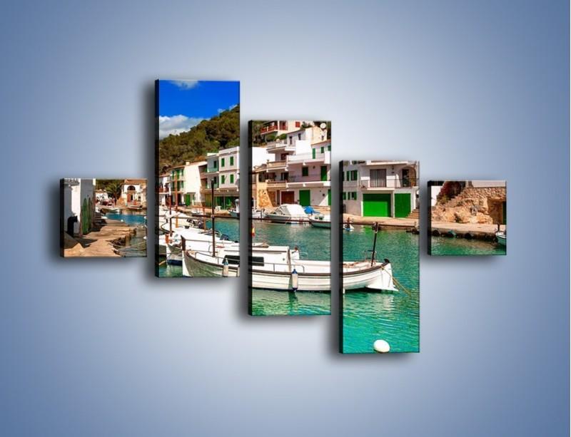 Obraz na płótnie – Domki nad wodą na Majorce – pięcioczęściowy AM484W3