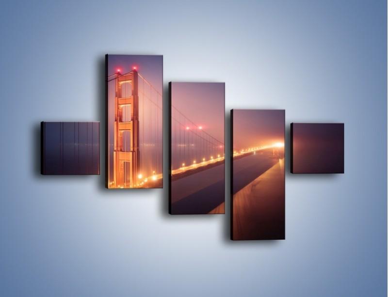 Obraz na płótnie – Most Golden Gate w nocnej mgle – pięcioczęściowy AM490W3
