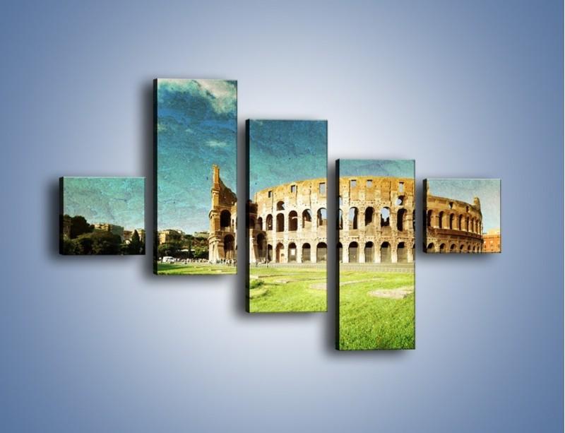 Obraz na płótnie – Koloseum w stylu vintage – pięcioczęściowy AM503W3