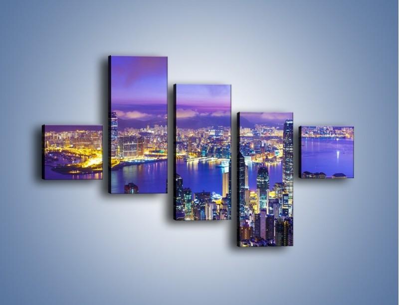 Obraz na płótnie – Wieczorna panorama Hong Kongu – pięcioczęściowy AM505W3