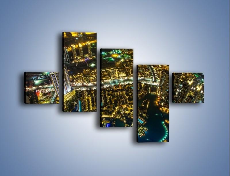 Obraz na płótnie – Dubaj nocą z lotu ptaka – pięcioczęściowy AM507W3