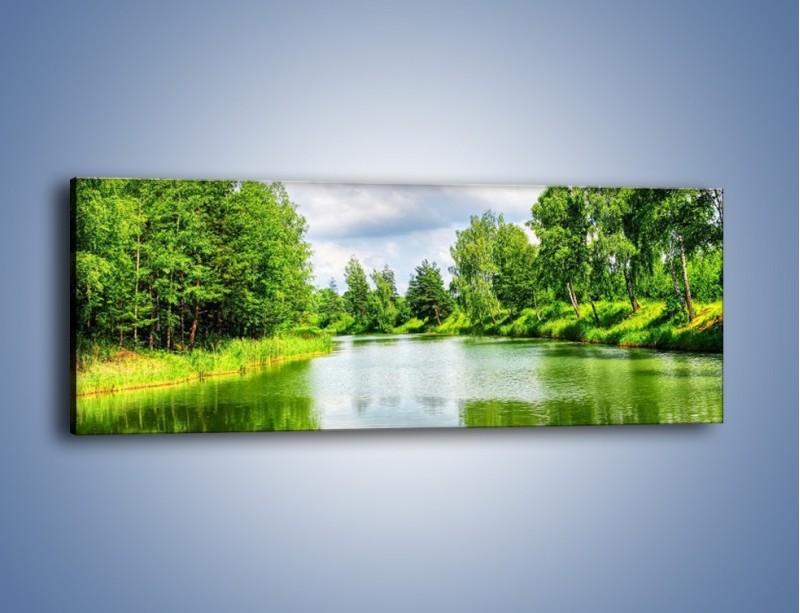 Obraz na płótnie – Spokojna woda i las – jednoczęściowy panoramiczny KN1086