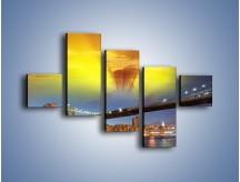 Obraz na płótnie – Most Brookliński o zachodzie słońca – pięcioczęściowy AM535W3