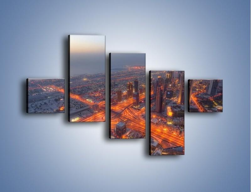 Obraz na płótnie – Panorama Dubaju o poranku – pięcioczęściowy AM538W3